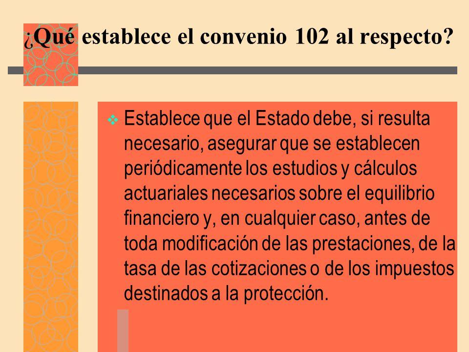¿Qué establece el convenio 102 al respecto