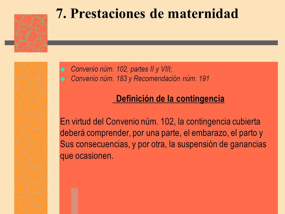 7. Prestaciones de maternidad