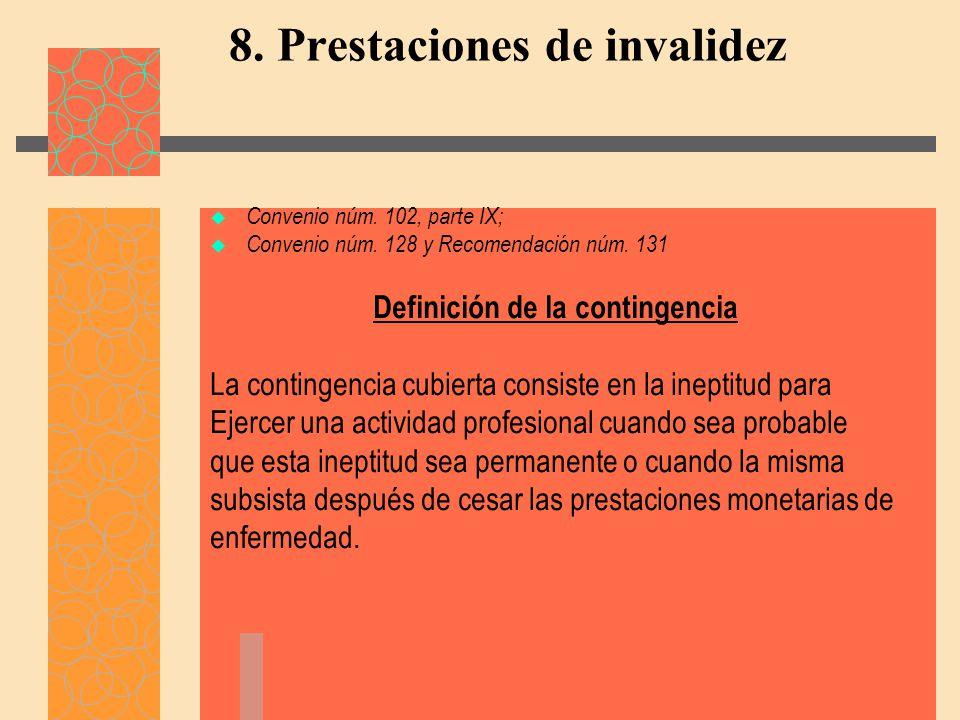 8. Prestaciones de invalidez
