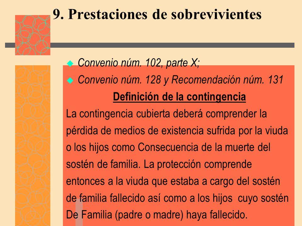 9. Prestaciones de sobrevivientes