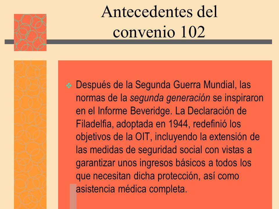 Antecedentes del convenio 102
