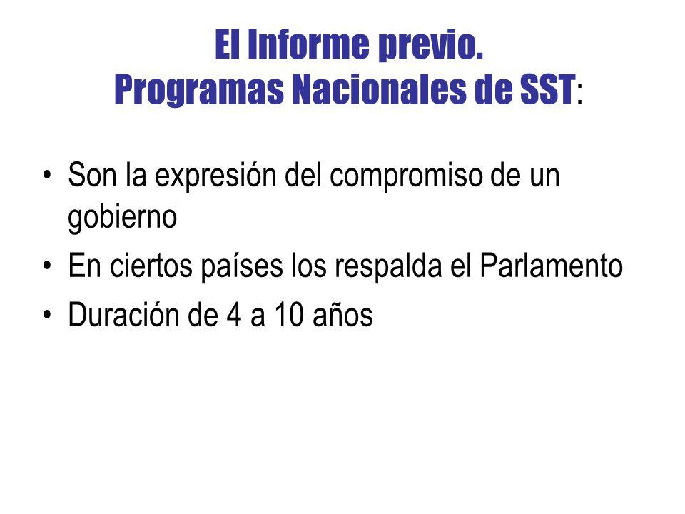 El Informe previo. Programas Nacionales de SST: