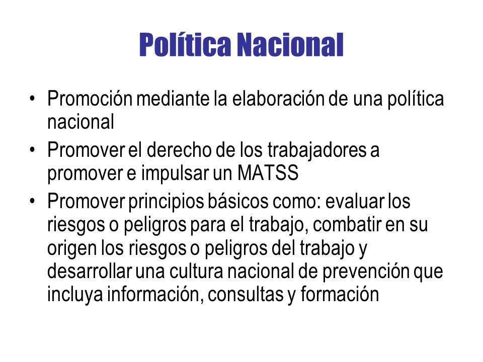 Política Nacional Promoción mediante la elaboración de una política nacional. Promover el derecho de los trabajadores a promover e impulsar un MATSS.