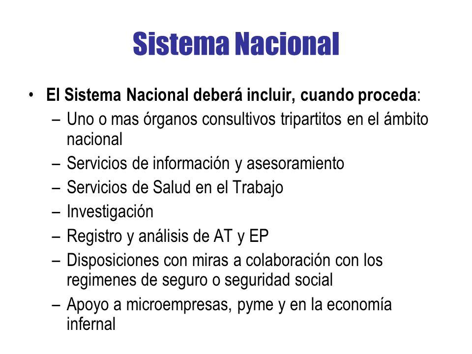 Sistema Nacional El Sistema Nacional deberá incluir, cuando proceda: