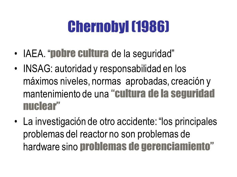 Chernobyl (1986) IAEA. pobre cultura de la seguridad