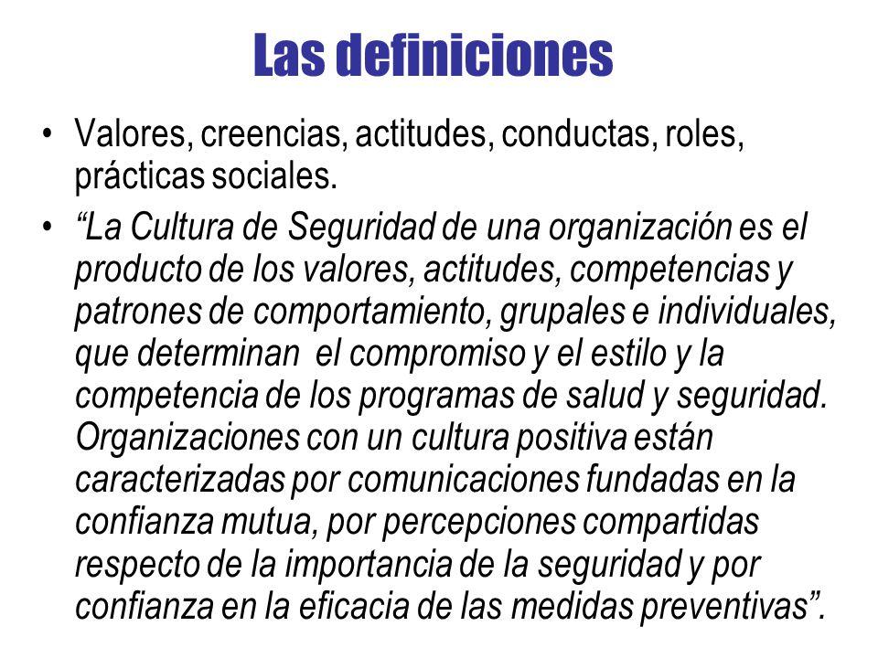 Las definiciones Valores, creencias, actitudes, conductas, roles, prácticas sociales.