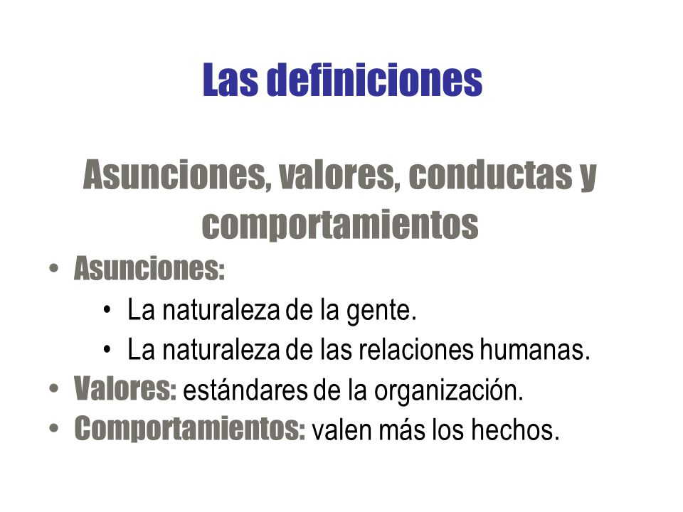 Asunciones, valores, conductas y