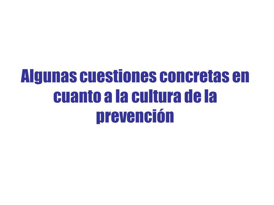 Algunas cuestiones concretas en cuanto a la cultura de la prevención