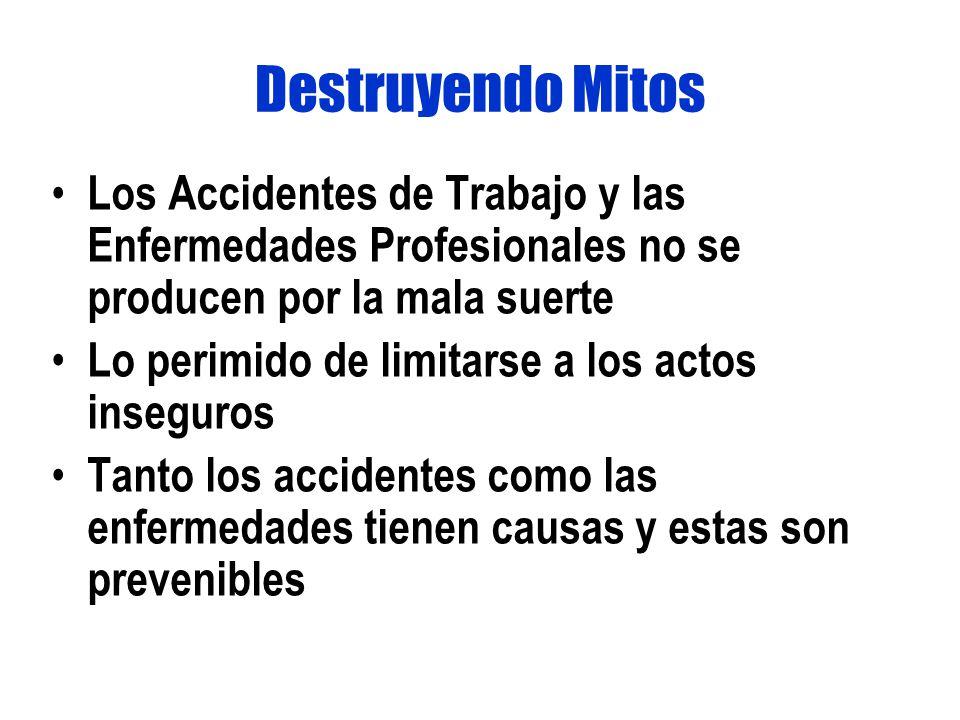Destruyendo Mitos Los Accidentes de Trabajo y las Enfermedades Profesionales no se producen por la mala suerte.