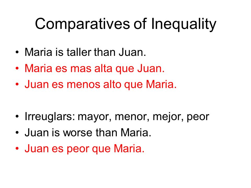 Comparatives of Inequality