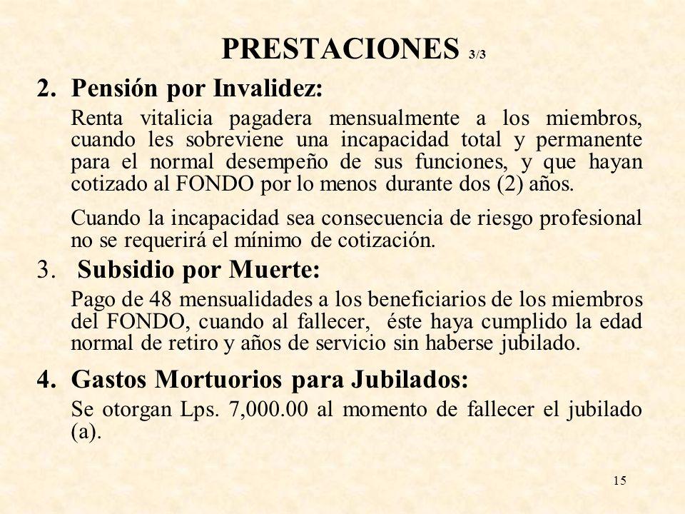 PRESTACIONES 3/3 2. Pensión por Invalidez: Subsidio por Muerte: