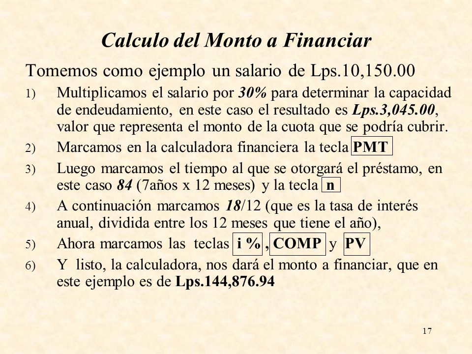 Calculo del Monto a Financiar