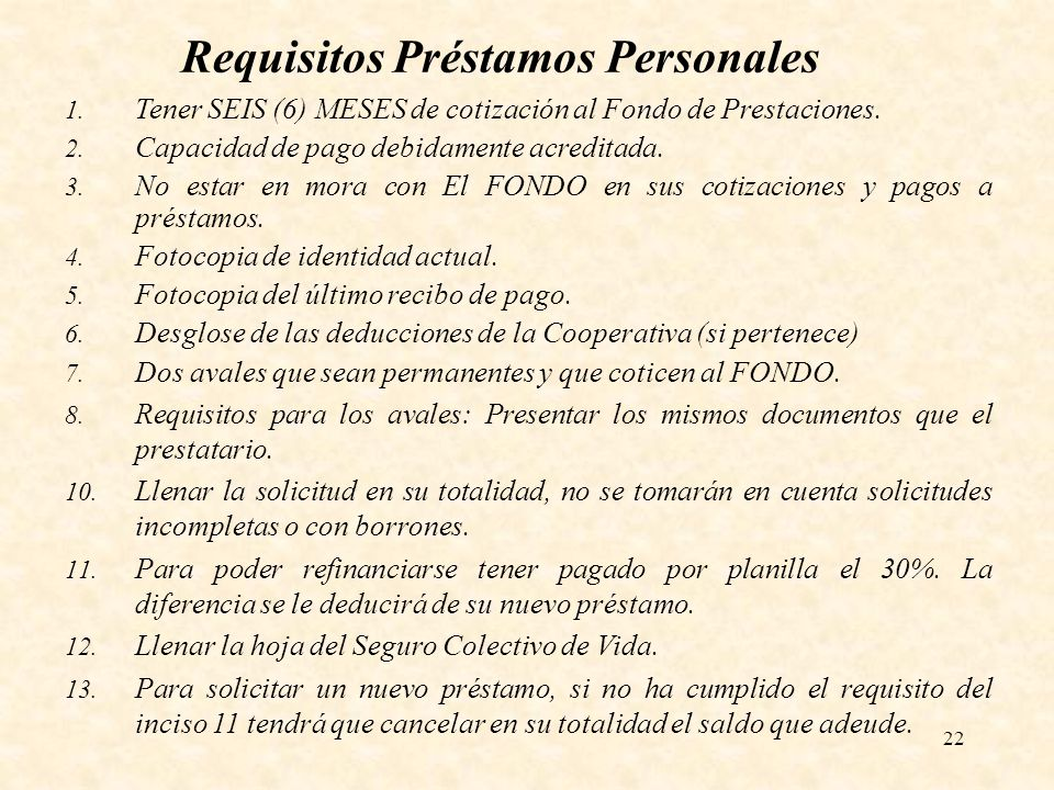Requisitos Préstamos Personales