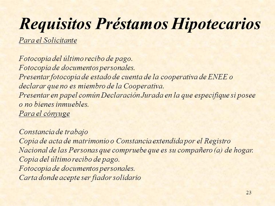 Requisitos Préstamos Hipotecarios