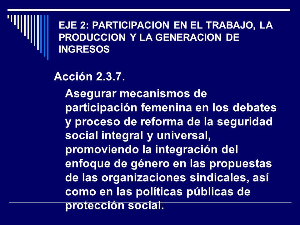 EJE 2: PARTICIPACION EN EL TRABAJO, LA PRODUCCION Y LA GENERACION DE INGRESOS