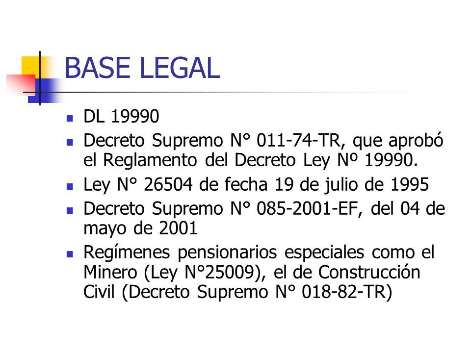 BASE LEGAL DL 19990. Decreto Supremo N° 011-74-TR, que aprobó el Reglamento del Decreto Ley Nº 19990.