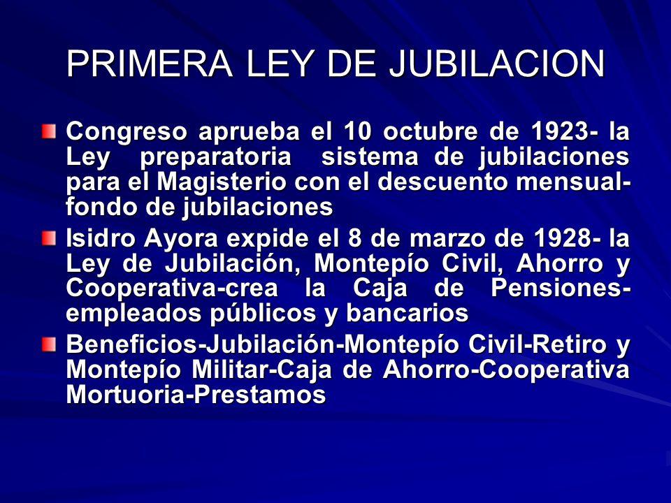 PRIMERA LEY DE JUBILACION