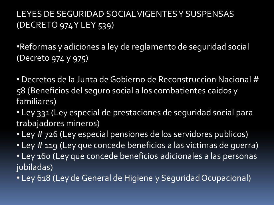 LEYES DE SEGURIDAD SOCIAL VIGENTES Y SUSPENSAS (DECRETO 974 Y LEY 539)