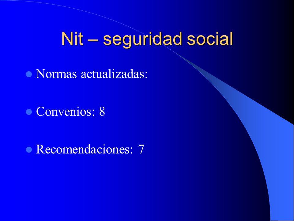 Nit – seguridad social Normas actualizadas: Convenios: 8