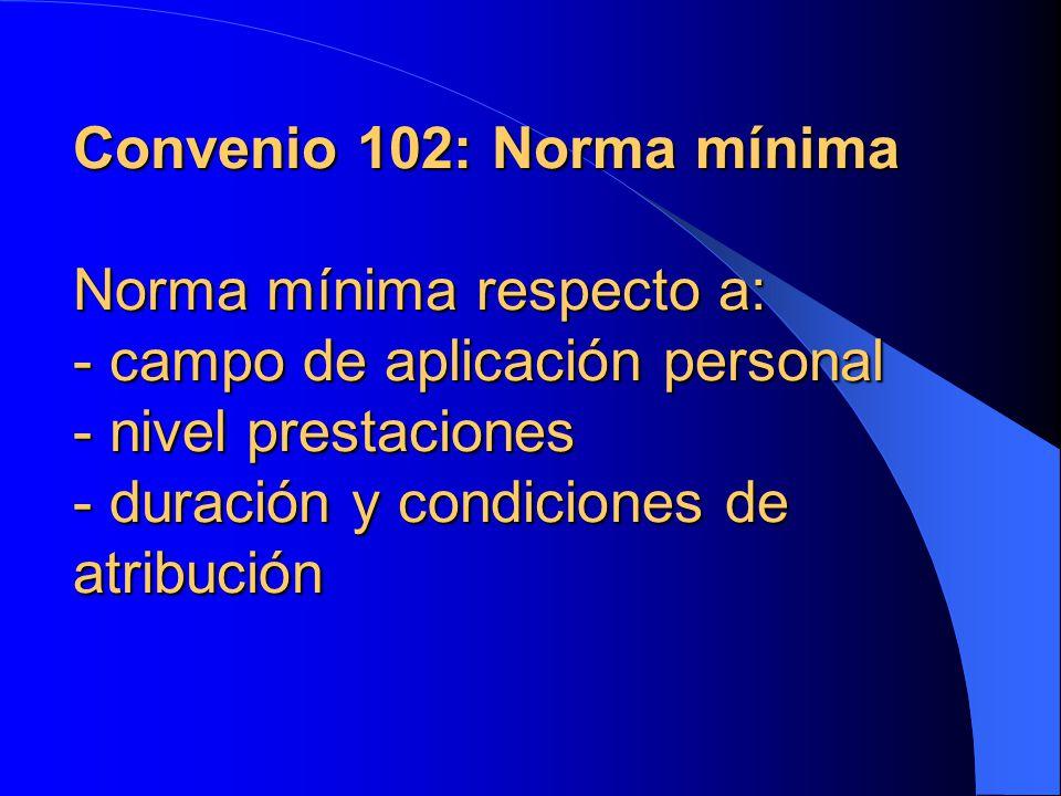 Convenio 102: Norma mínima Norma mínima respecto a: - campo de aplicación personal - nivel prestaciones - duración y condiciones de atribución