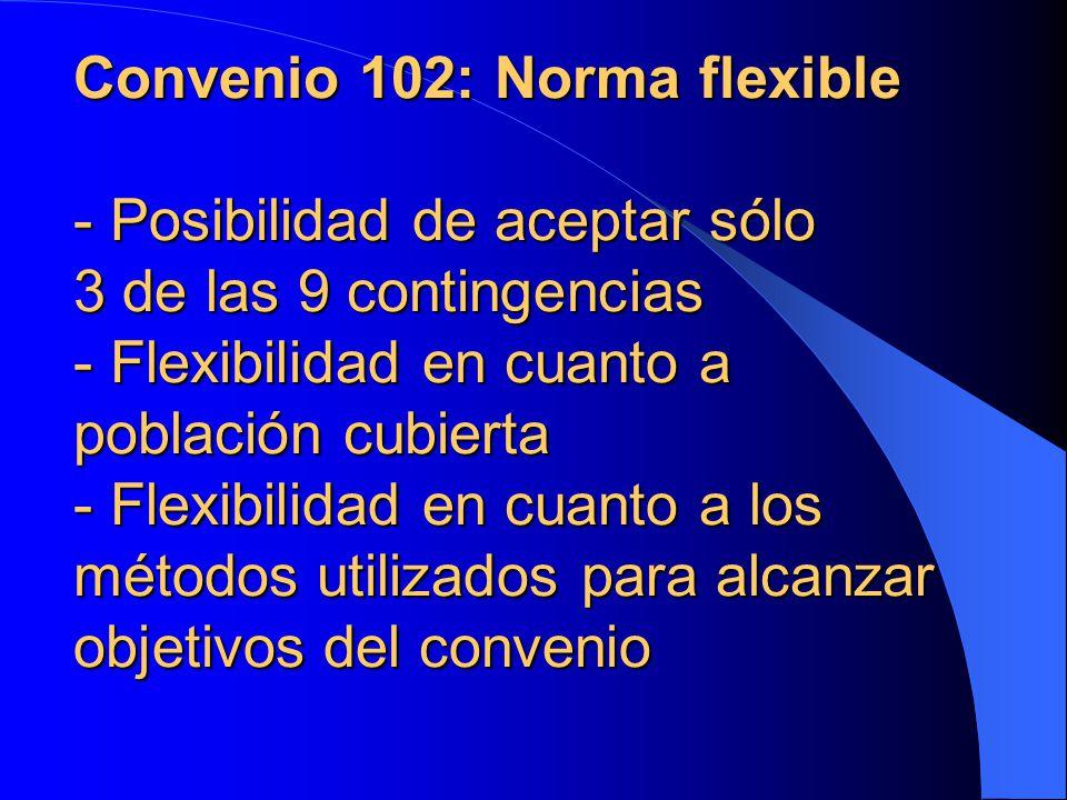 Convenio 102: Norma flexible - Posibilidad de aceptar sólo 3 de las 9 contingencias - Flexibilidad en cuanto a población cubierta - Flexibilidad en cuanto a los métodos utilizados para alcanzar objetivos del convenio