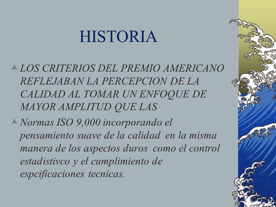 HISTORIA LOS CRITERIOS DEL PREMIO AMERICANO REFLEJABAN LA PERCEPCION DE LA CALIDAD AL TOMAR UN ENFOQUE DE MAYOR AMPLITUD QUE LAS.