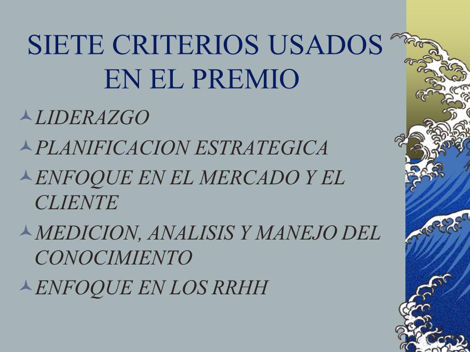 SIETE CRITERIOS USADOS EN EL PREMIO