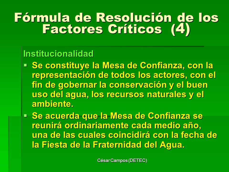 Fórmula de Resolución de los Factores Críticos (4)