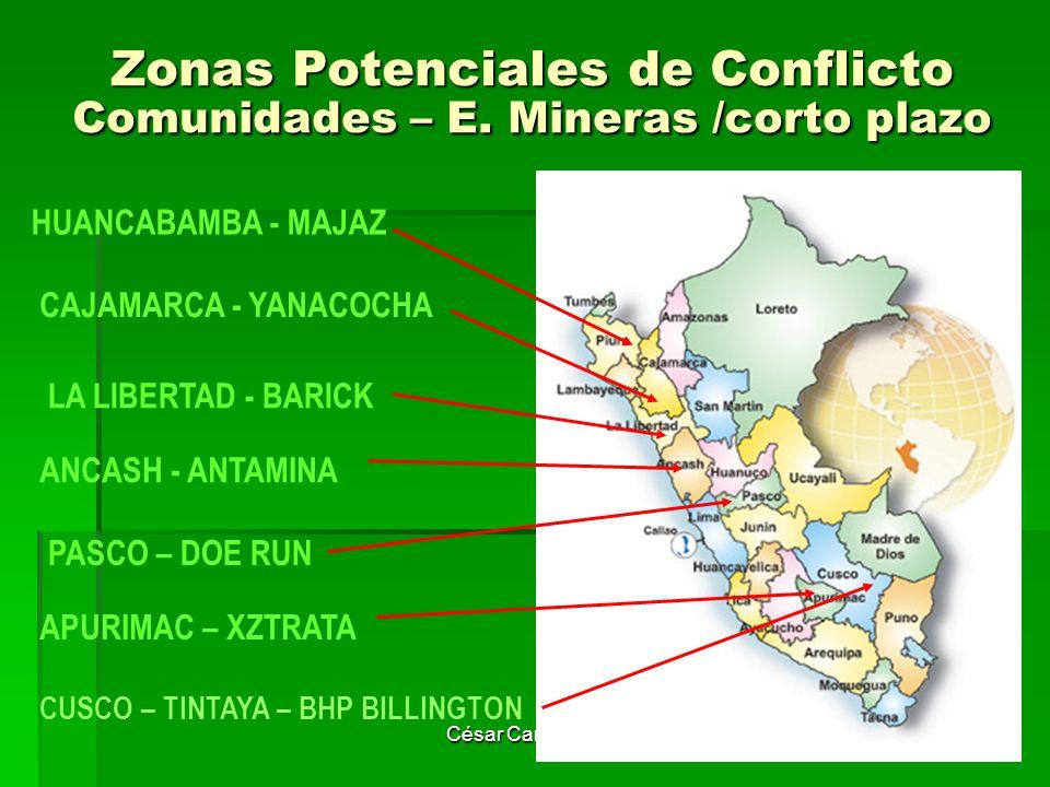 Zonas Potenciales de Conflicto Comunidades – E. Mineras /corto plazo