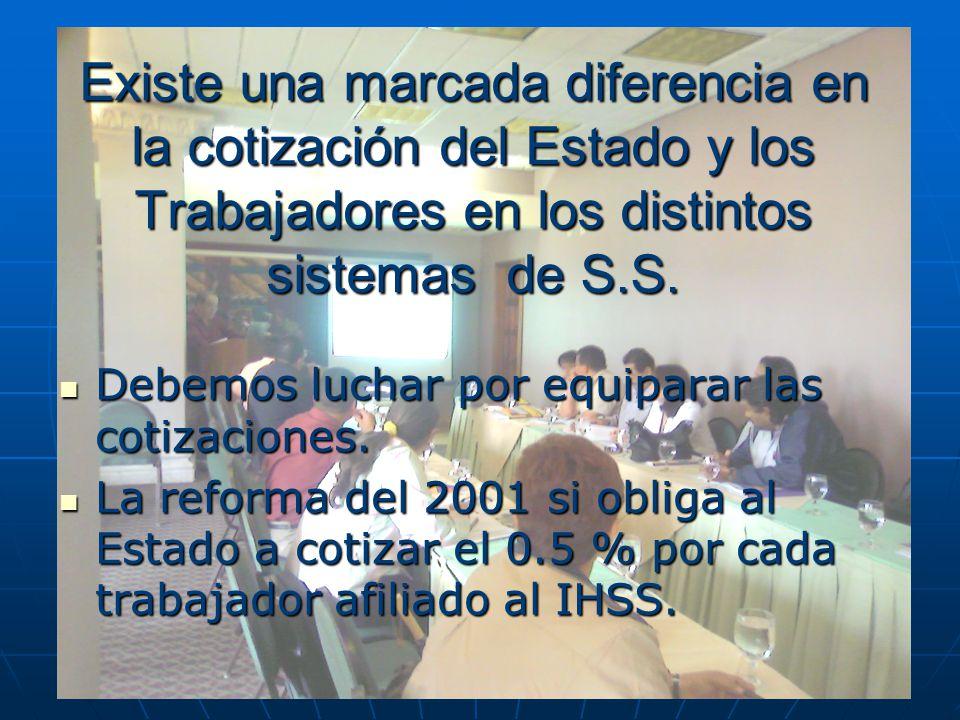 Existe una marcada diferencia en la cotización del Estado y los Trabajadores en los distintos sistemas de S.S.