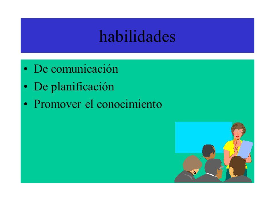 habilidades De comunicación De planificación Promover el conocimiento