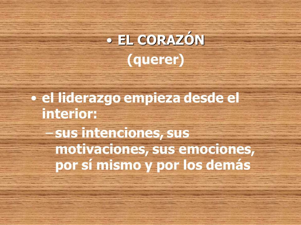 EL CORAZÓN (querer) el liderazgo empieza desde el interior: sus intenciones, sus motivaciones, sus emociones, por sí mismo y por los demás.