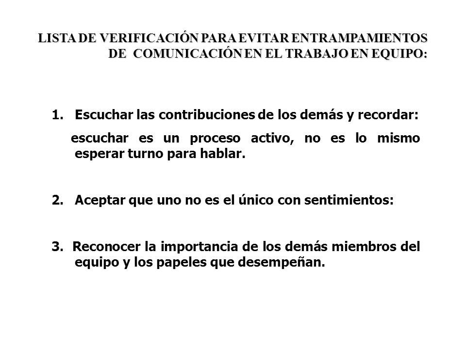 LISTA DE VERIFICACIÓN PARA EVITAR ENTRAMPAMIENTOS DE COMUNICACIÓN EN EL TRABAJO EN EQUIPO: