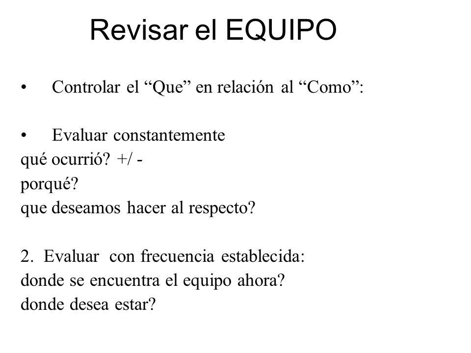 Revisar el EQUIPO Controlar el Que en relación al Como :