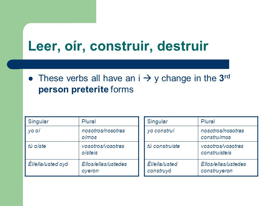 Destruir Preterite Verb Chart - Double vowel verbs in the ...