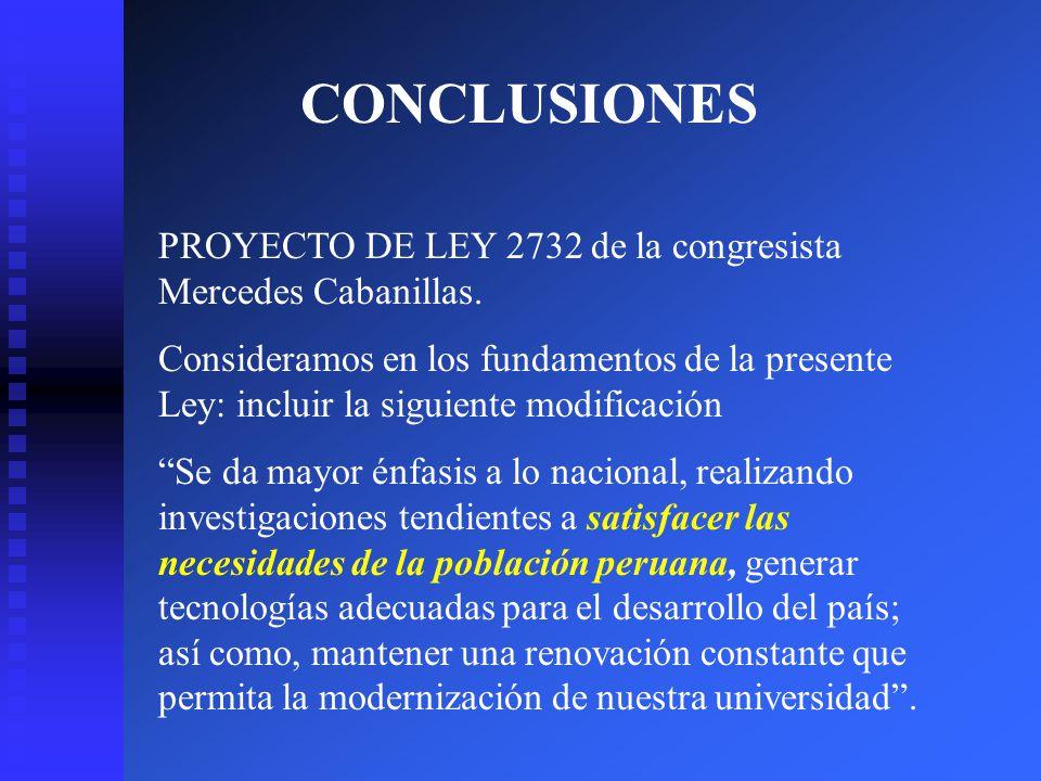 CONCLUSIONES PROYECTO DE LEY 2732 de la congresista Mercedes Cabanillas.