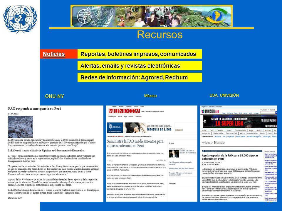 Recursos Noticias Reportes, boletines impresos, comunicados