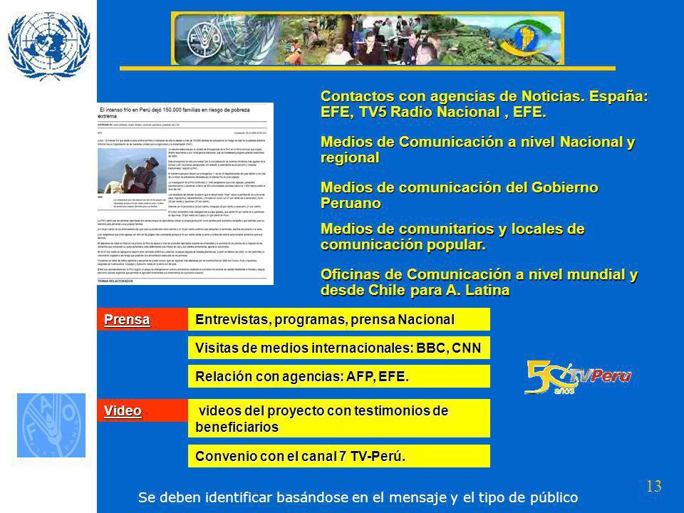 Medios de Comunicación a nivel Nacional y regional