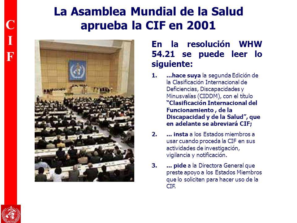 La Asamblea Mundial de la Salud aprueba la CIF en 2001
