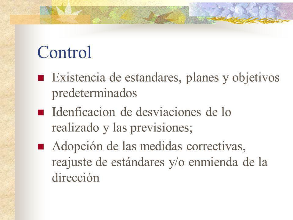 Control Existencia de estandares, planes y objetivos predeterminados