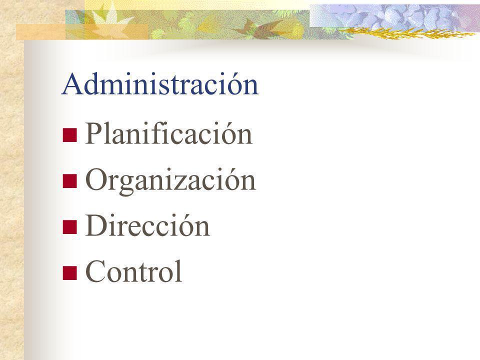 Administración Planificación Organización Dirección Control