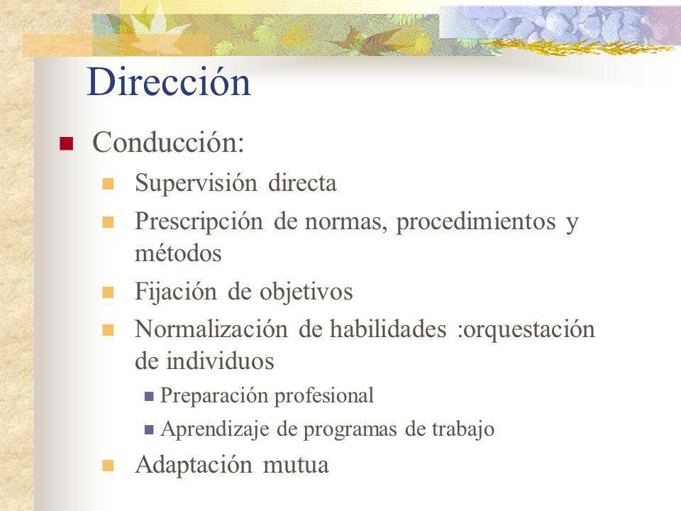 Dirección Conducción: Supervisión directa
