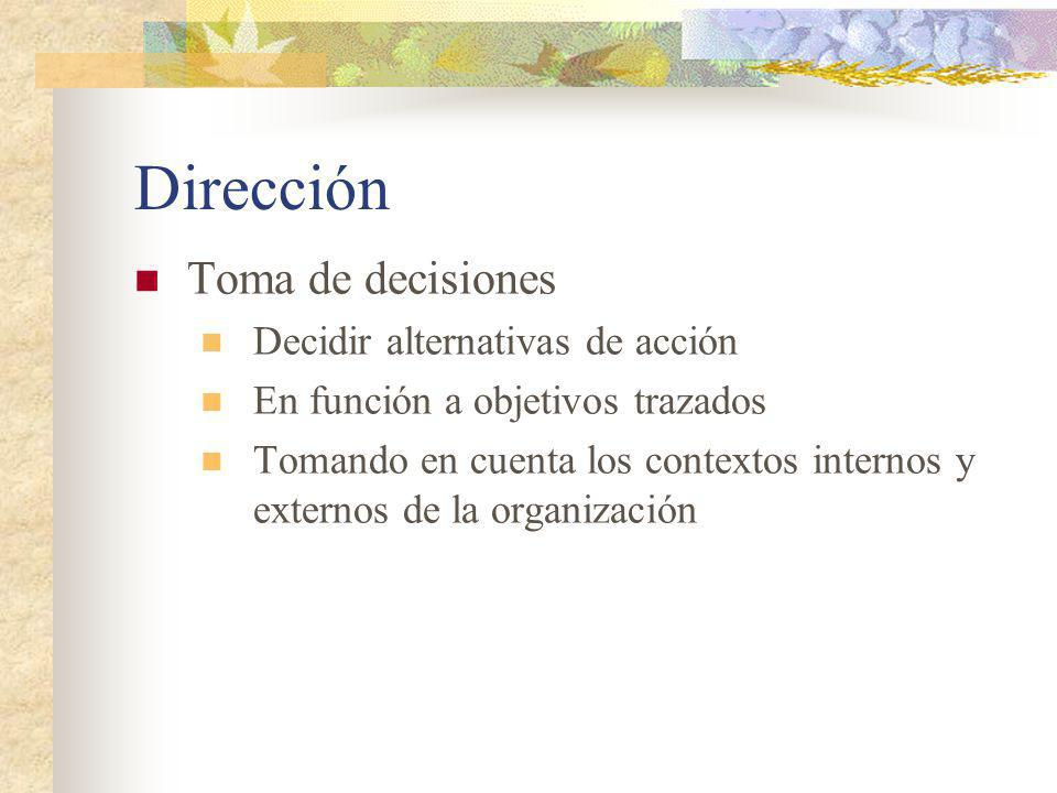 Dirección Toma de decisiones Decidir alternativas de acción
