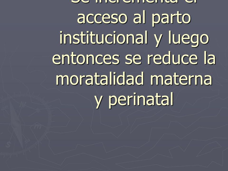 TEORIA Si mejora la calidad y la capacidad resolutiva Se incrementa el acceso al parto institucional y luego entonces se reduce la moratalidad materna y perinatal