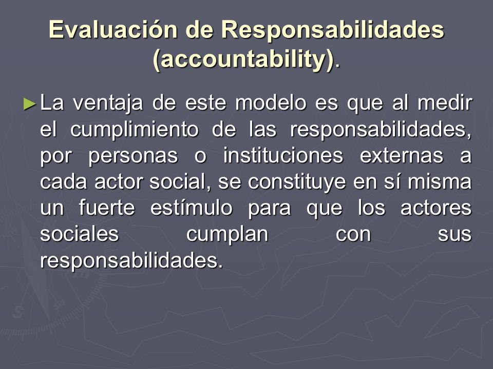 Evaluación de Responsabilidades (accountability).