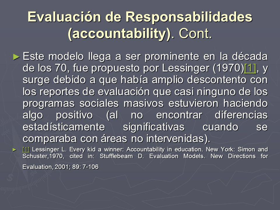 Evaluación de Responsabilidades (accountability). Cont.