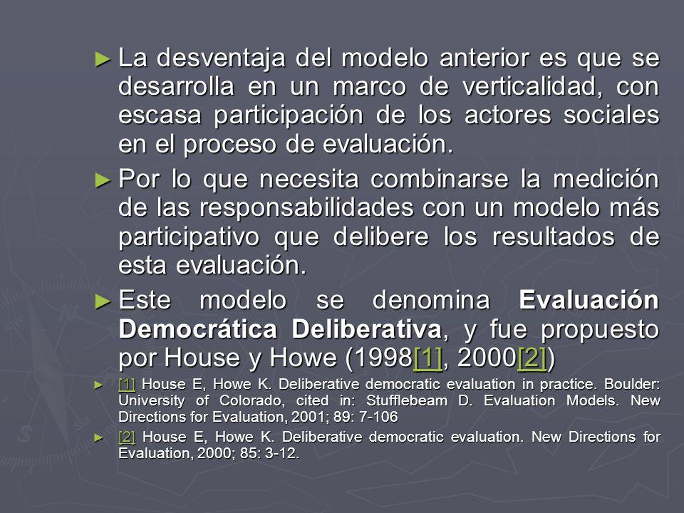 La desventaja del modelo anterior es que se desarrolla en un marco de verticalidad, con escasa participación de los actores sociales en el proceso de evaluación.