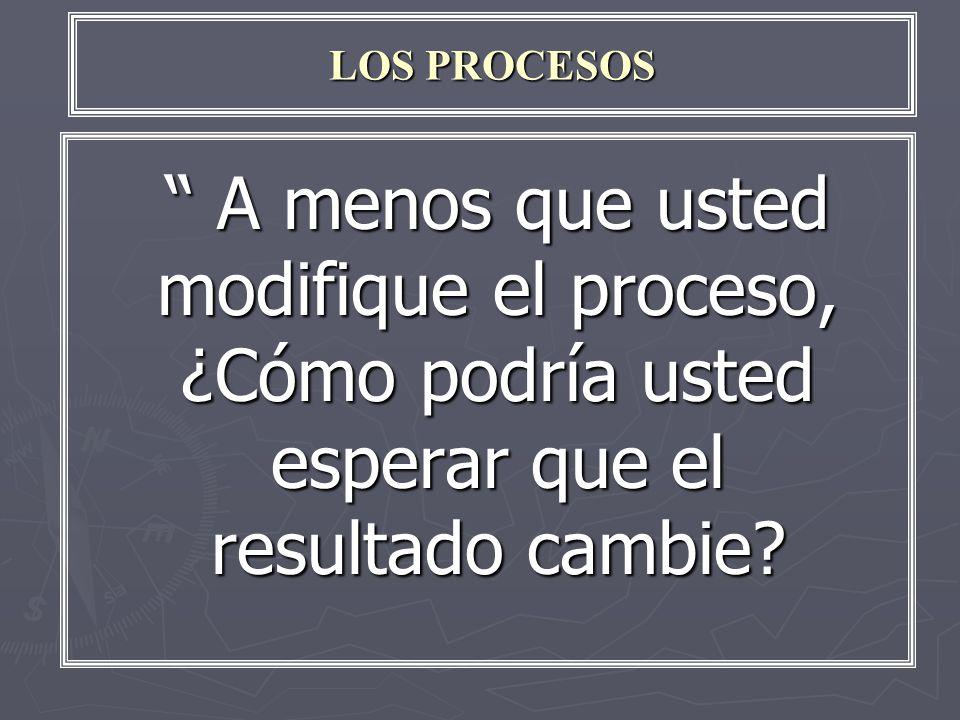 LOS PROCESOS A menos que usted modifique el proceso, ¿Cómo podría usted esperar que el resultado cambie