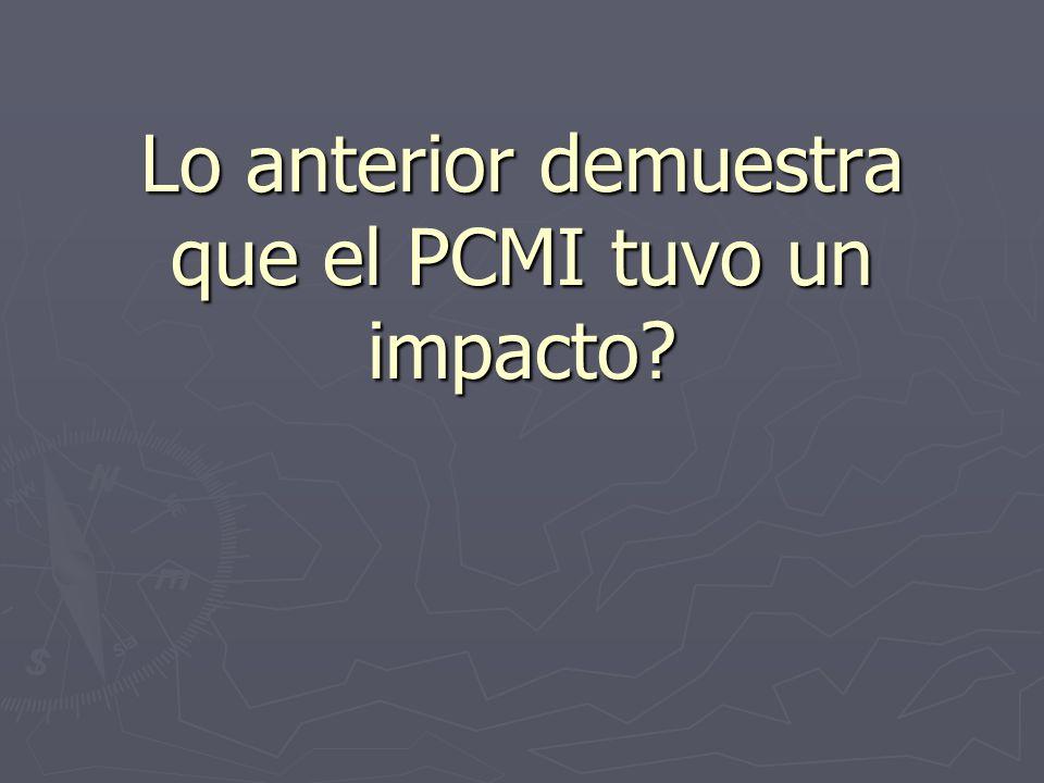 Lo anterior demuestra que el PCMI tuvo un impacto