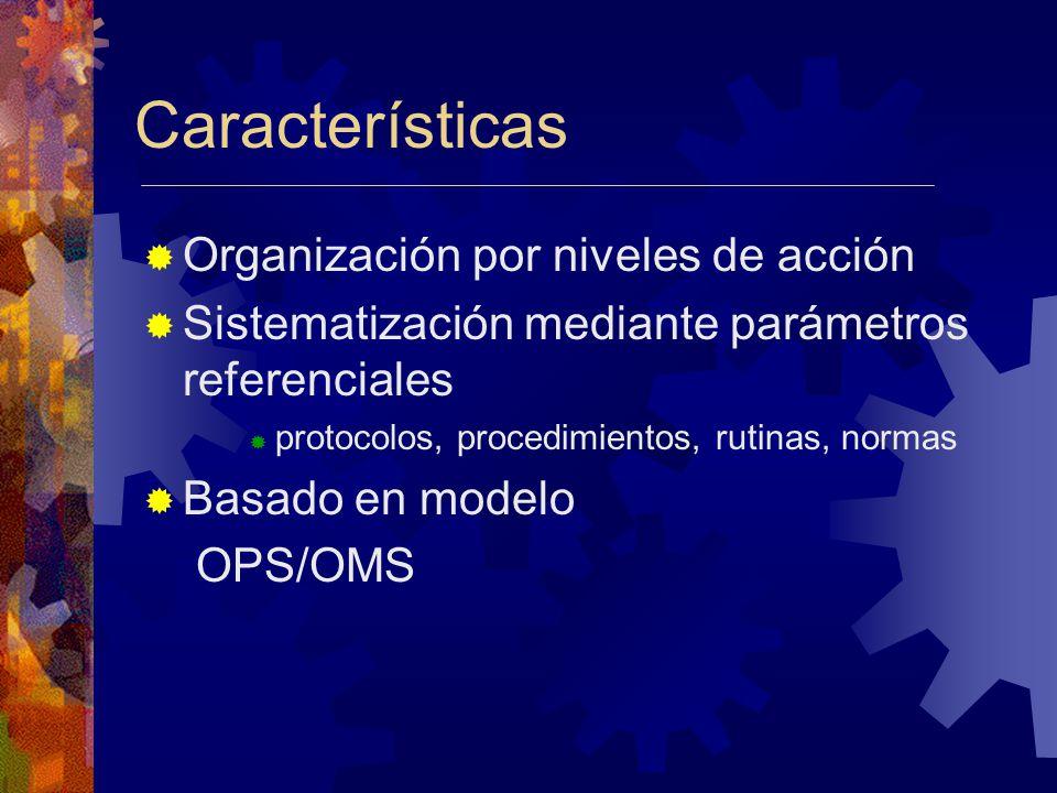Características Organización por niveles de acción